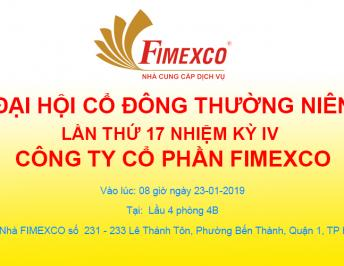 THE ANNOUNCEMENT OF THE  17TH ANNUAL SHAREHOLDERS MEETING OF FIMEXCO JSC