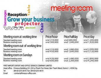 FIMEXCO OFFICE introduce the service of meeting-room for rent to businesses