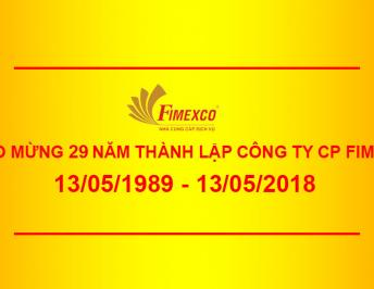 THE MESSAGE OF THANKS AND CONGRATULATION ON THE 29TH FOUNDATION ANNIVERSARY OF FIRST DISTRICT PRODUCING IMPORT EXPORT TRADING AND SERVICE JOINT STOCK COMPANY (FIMEXCO)